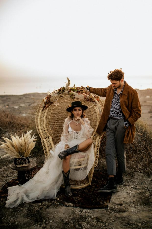 bohemian destination elopement- peacock chair