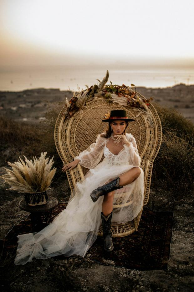 bohemian destination elopement- peacock chair