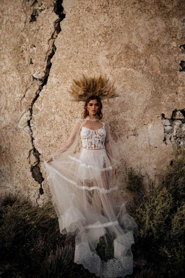 pampas bridal crown