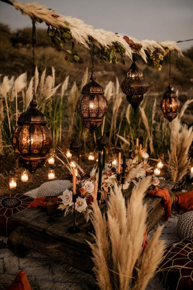 Bohemian- Morocco inspired wedding dinner