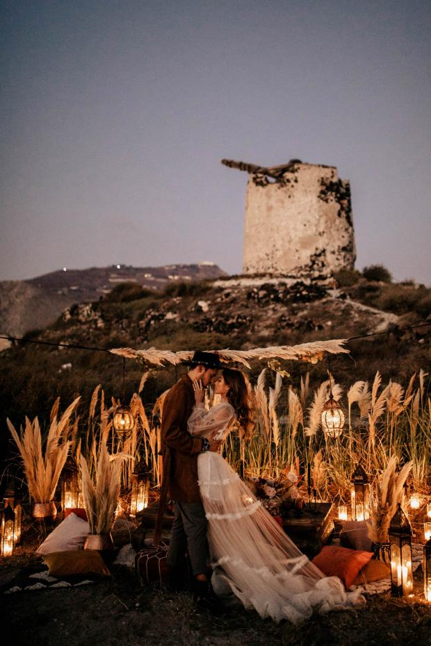 Bohemian- Morocco inspired wedding dinner  with pampas