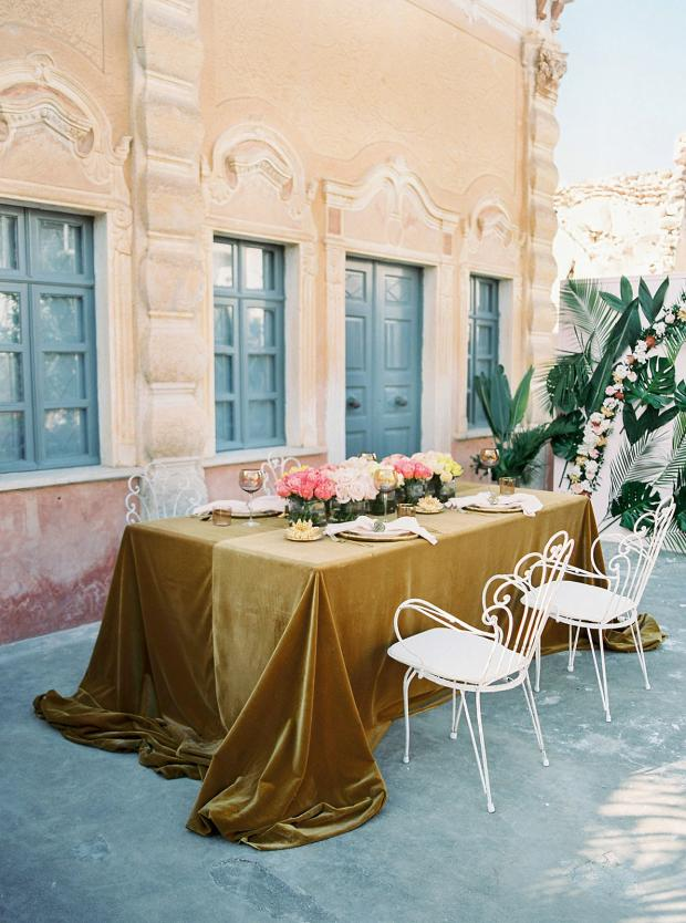 Belle époque inspired wedding in Greece, at an old mansion- velvet tablecloth