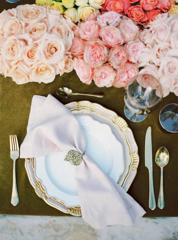 Gold and pink wedding tablescape