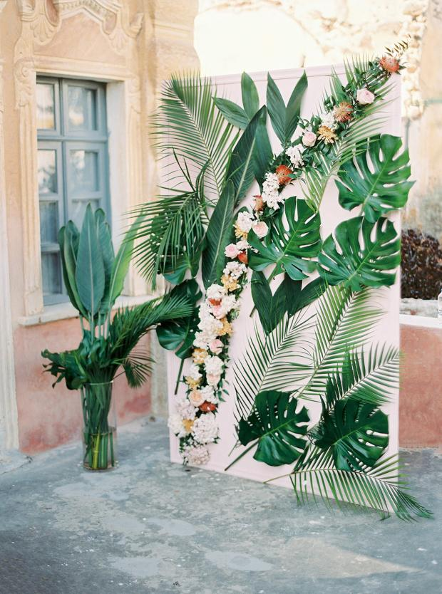 Tropical and colourful wedding altar
