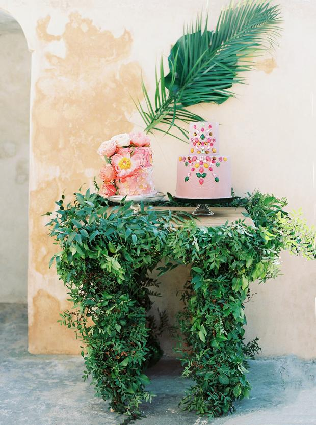 Greenery and colourful cake table