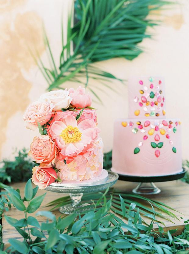 pink and yellow peony cake