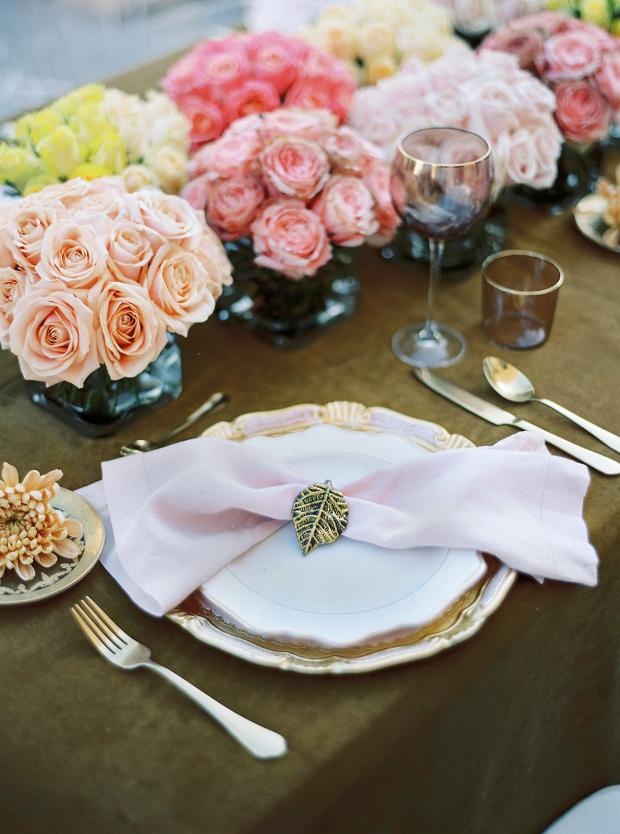 Pink & yellow wedding tablescape with roses