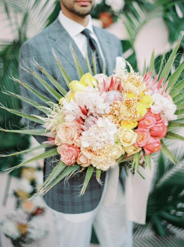 Pink and yellow tropical wedding bouquet