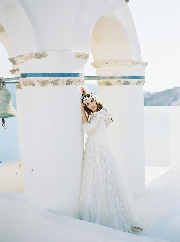 Belle Epoque wedding in Greece- bohemian wedding dress