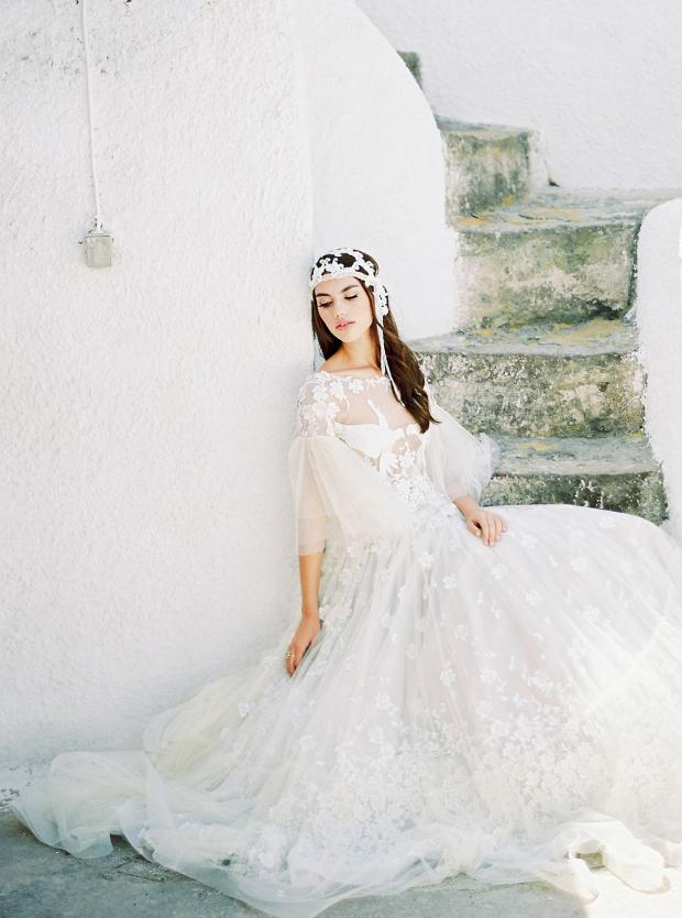 Bohemian wedding dress and headpiece