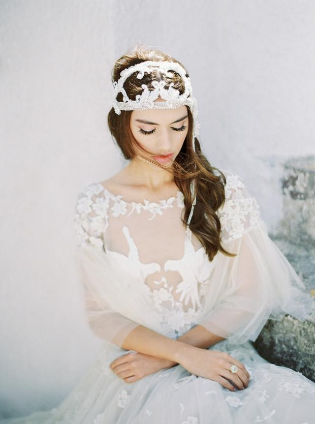 Bohemian wedding dress and headpiece