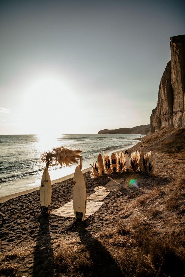 Surf destination elopement with pampas grass