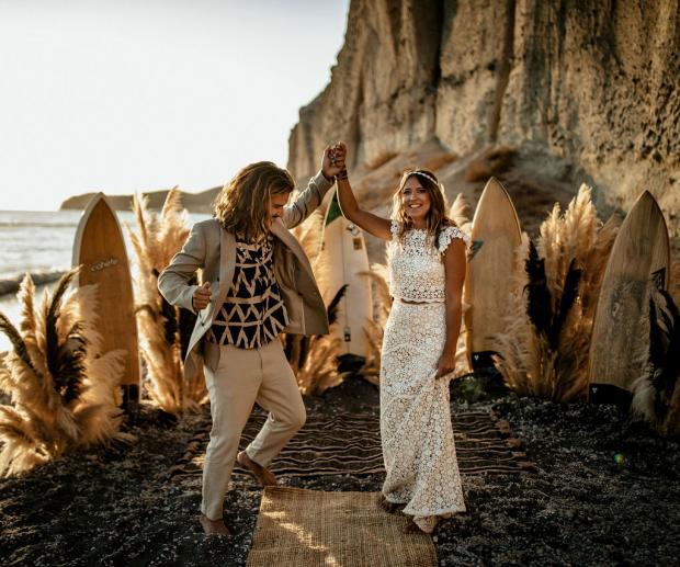 Surf wedding- lace dress