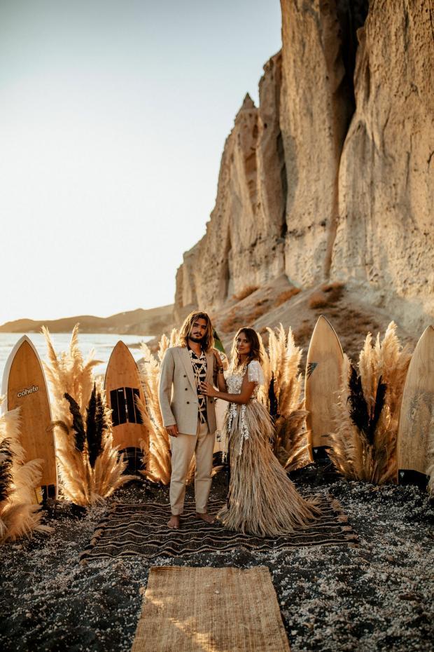 Surf wedding - pampas grass dress