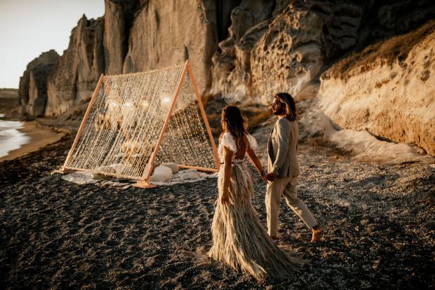 Surf wedding - pampas grass skirt