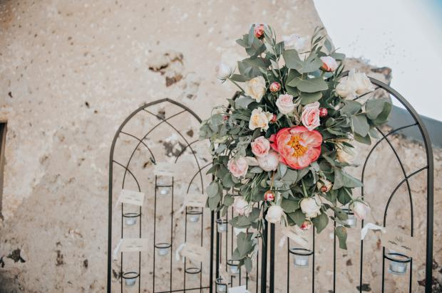 Seating chart decorated with peonies
