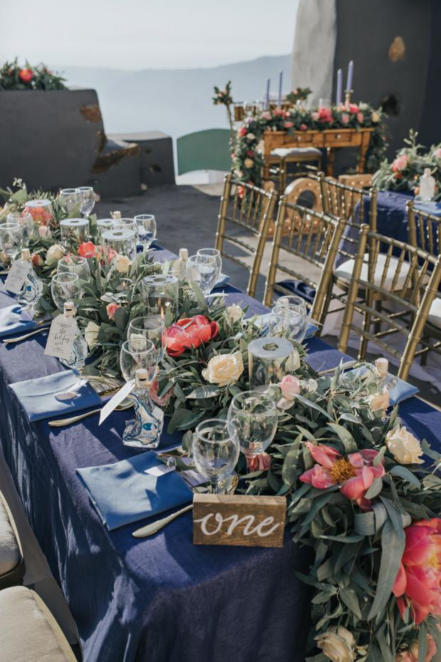 Tablescape -garland with peonies
