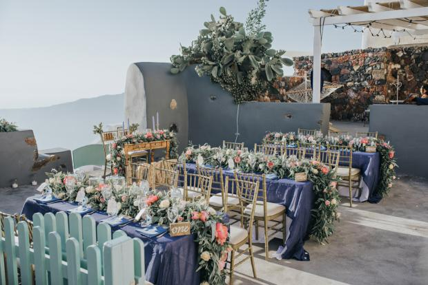 Wedding reception- Santorini wedding