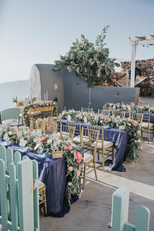 Elegant peony wedding in Santorini