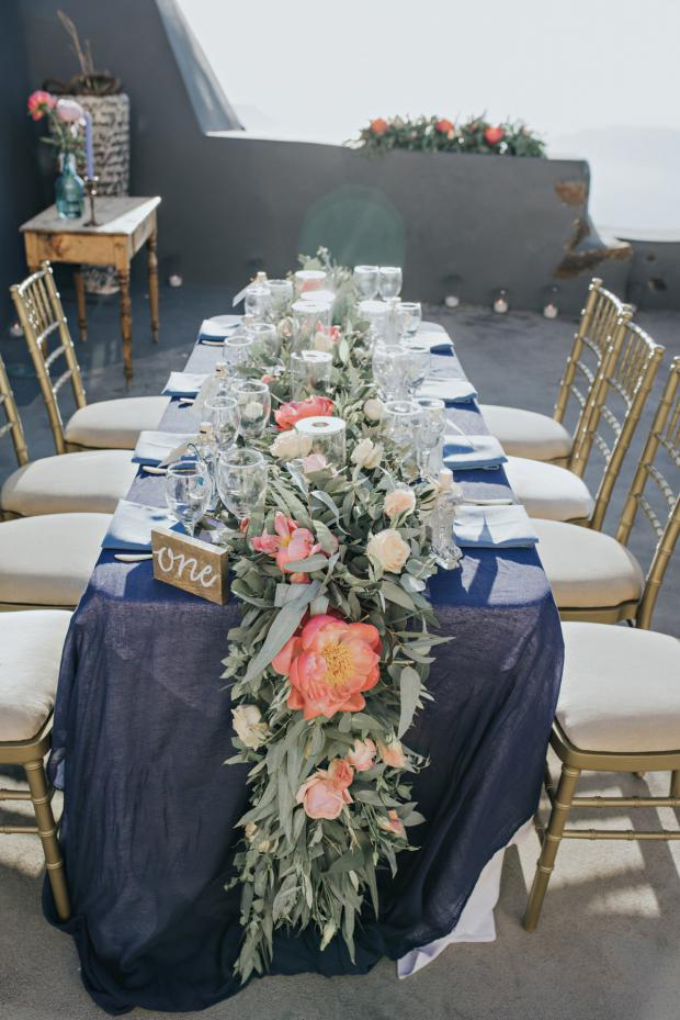 Tablescape -blue tablecloth and pink peonies