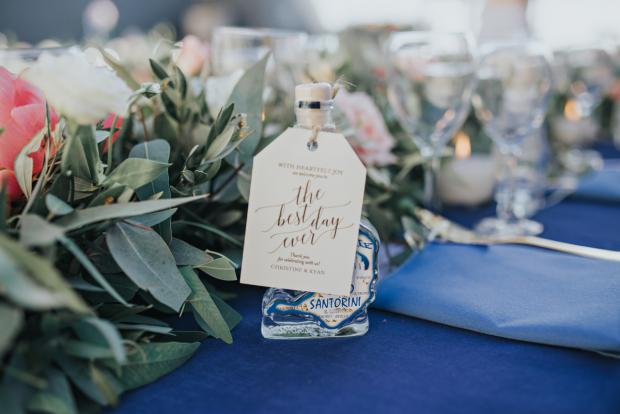 Santorini ouzo wedding favor