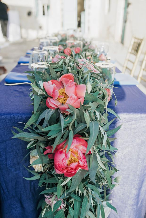 Pink and blue wedding - garland with peonies and  eucalyptus