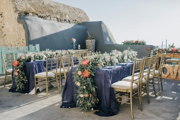 Lush peony wedding in Santorini