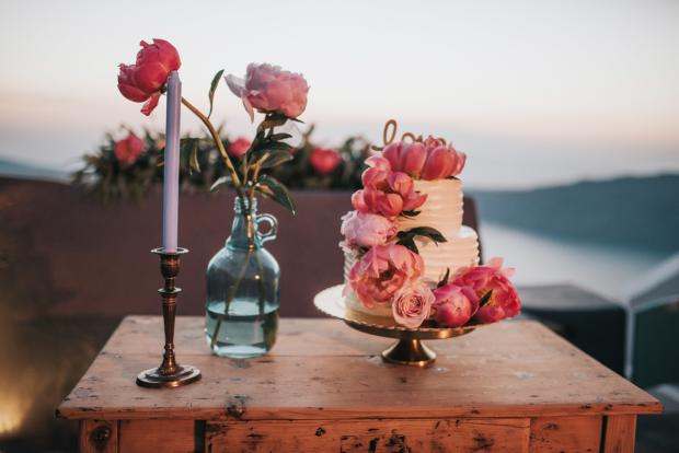 Peony wedding cake - elegant vintage wedding in Greece