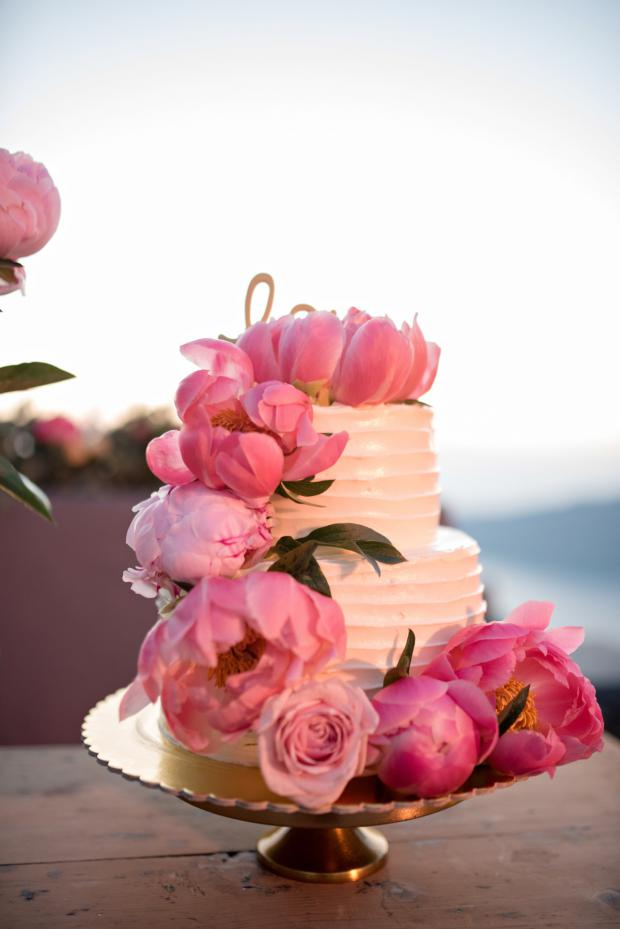 Cake with peonies - wedding in Greece