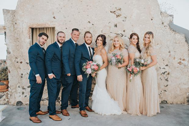 Wedding in Santorini- Bridesmaids and groomsmen