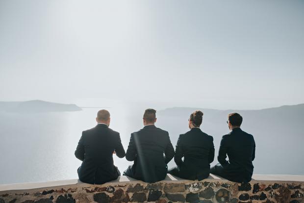 Groomsmen in Santorini