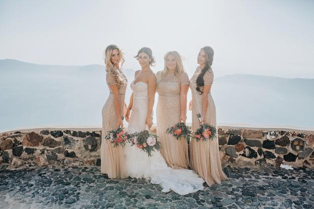 Bride and bridesmaids - Wedding in Greece