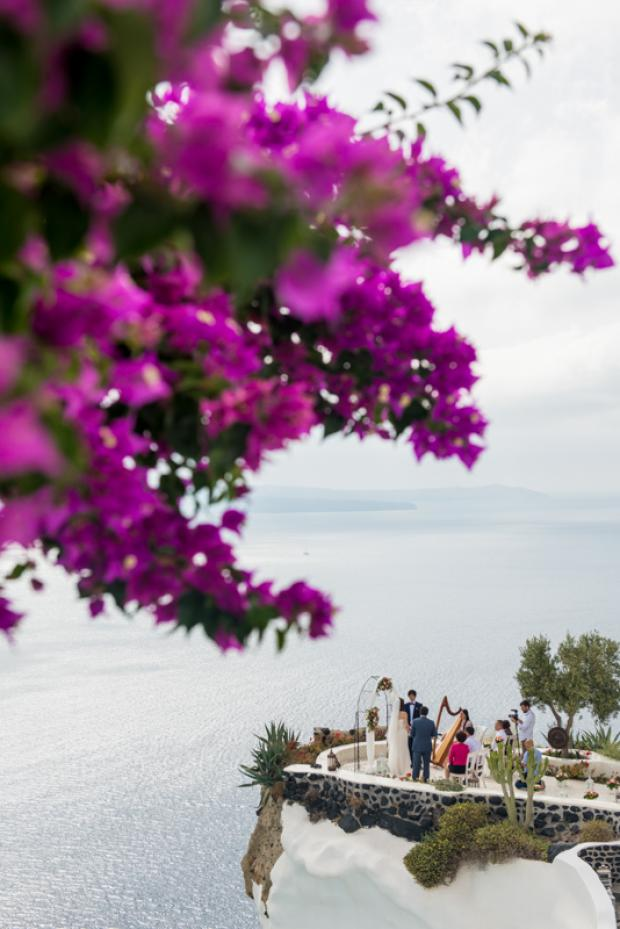 Santorini wedding -bougainvillea