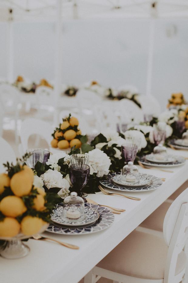 Lemon wedding tablescape