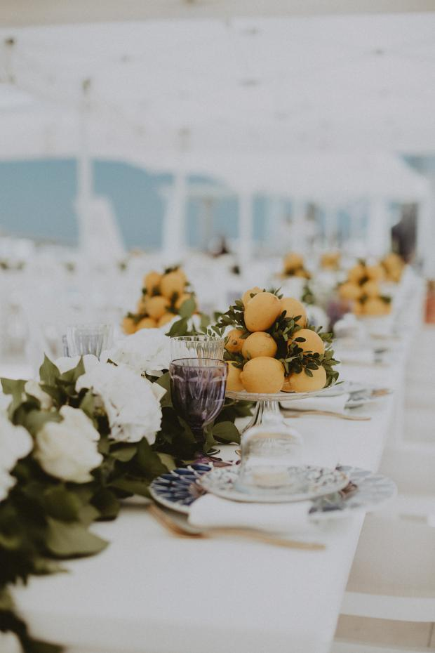 Lemon centrepiece- Wedding in Greece & Italy
