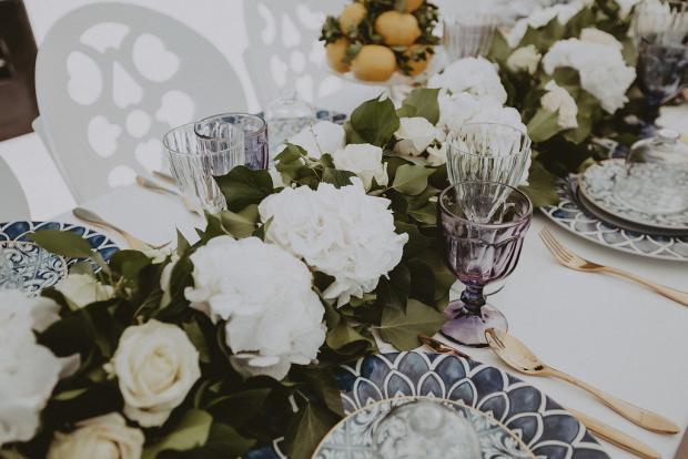 Hydrangea flower garland- wedding tablescape
