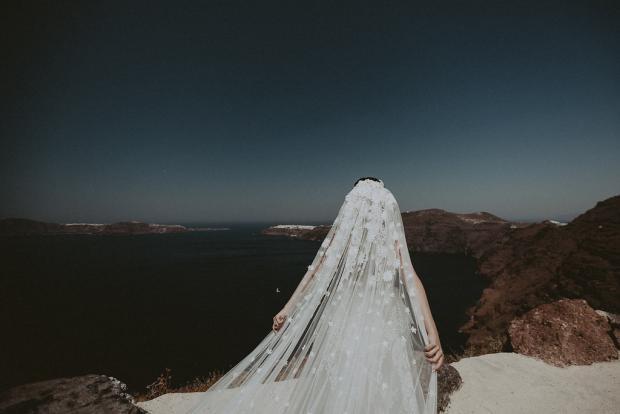 Luxury jewish wedding in Greece- veil