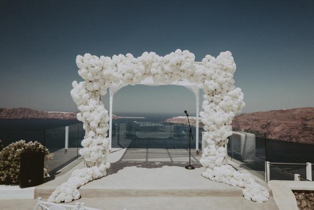 All white hydrangea arch- Wedding in Greece