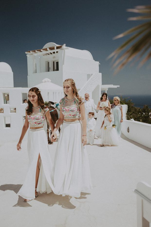 Beautiful bridesmaids- Santorini wedding