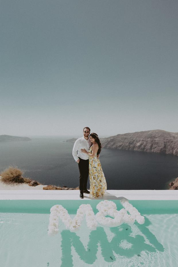 Floating  flower initials - Wedding in Greece and Italy