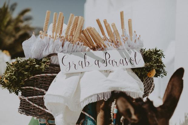 Wedding in Greece- Grab & parasol donkey