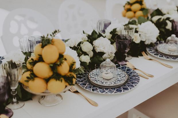 Lemon and blue tile wedding design-  Wedding Tablescape