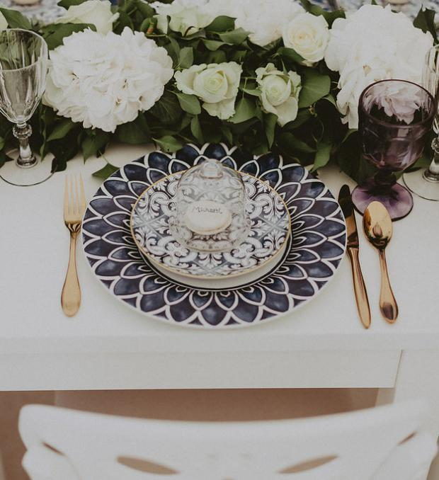 Blue tile plates- Wedding tablescape