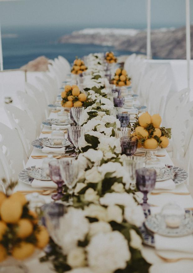 White-blue and lemon wedding in Greece & Italy- Wedding tablescape