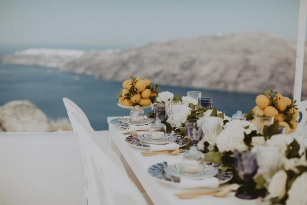 Lemon centrepiece- Wedding in Greece & Italy