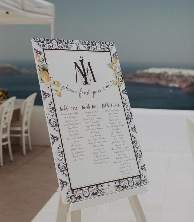 Lemon & blue tile design table plan- Wedding in Greece & Italy