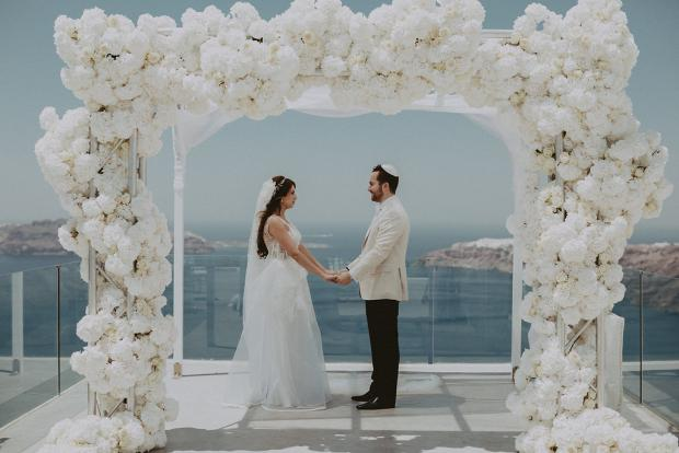 All white luxury wedding altar- Wedding in Greece