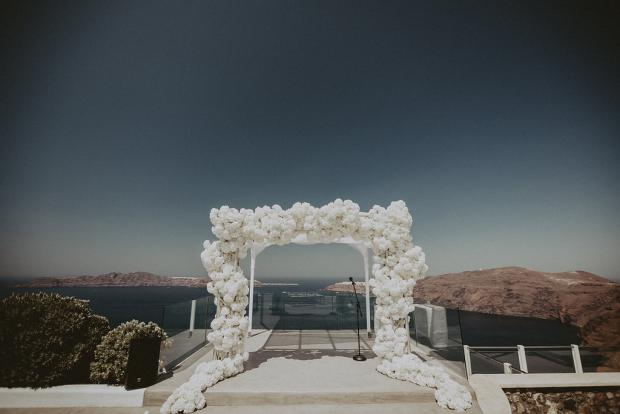 All white hydrangea arch- Wedding in Greece