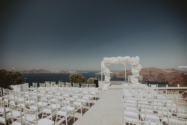 All white glamorous wedding in Santorini, Greece