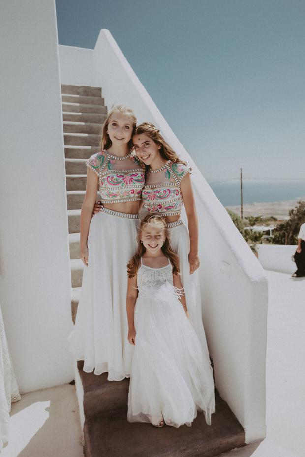Beautiful bridesmaids- Santorini wedding